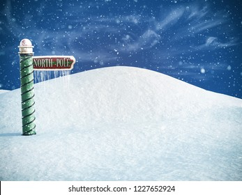 3D rendering of a north pole sign pointing to the place where you can find Santa. Snow in the air and icicles hanging from the sign.
