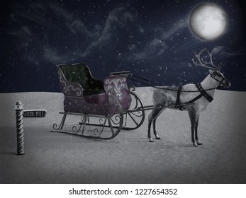 3D rendering of a north pole sign and a reindeer pulling a sleigh waiting for Santa to come at night. It's snowing and the moon is shining.