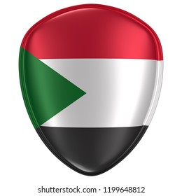 3d rendering of a North Sudan flag icon on white background.