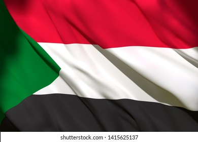 3d rendering of a North Sudan national flag waving