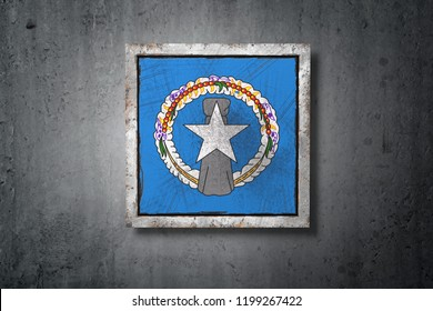 3d rendering of a Northern Mariana Islands flag in a concrete wall