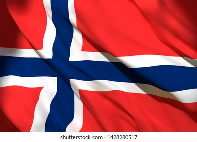 3d rendering of a Norway national flag waving