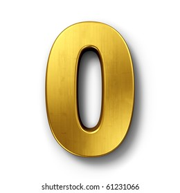 3d rendering of the number 0 in gold metal on a white isolated background.