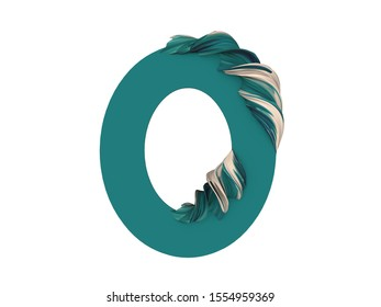 3d rendering of number 0, zero, null. Bold lettering image isolated on white background. Abstract with decorative green colored feather shape. Typography illustration