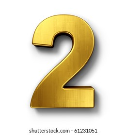 3d rendering of the number 2 in gold metal on a white isolated background.