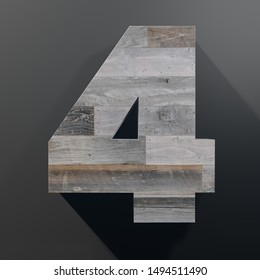 3D rendering of number 4 made out of wood planks