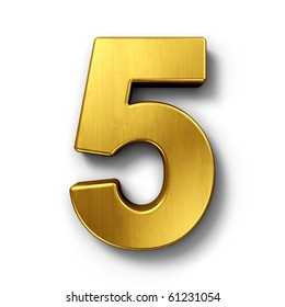 3d rendering of the number 5 in gold metal on a white isolated background.