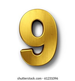 3d rendering of the number 9 in gold metal on a white isolated background.