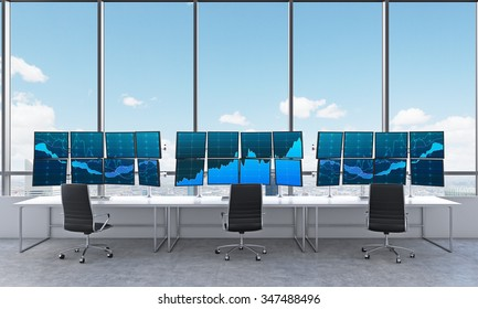 3D rendering of office with 24 switched on monitors, three chars in front, processing data for trading, window at the background new york panoramic view
