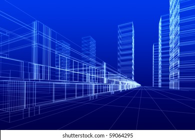 3D rendering of office buildings on blue background. Concept - modern city and modern architecture.