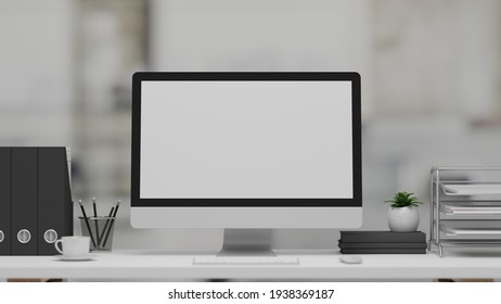 3D rendering, office desk with computer, stationery and office supplies in blurred background, 3D illustration