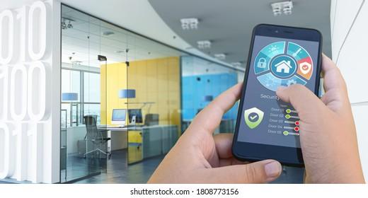 3D-Darstellung einer von einer Automatisierungs-App gesteuerten Büroinnenarchitektur