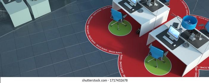 3D-Darstellung eines Büroinners mit sozialen Abgrenzungsmaßnahmen