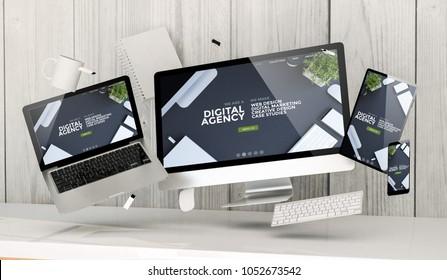3d rendering of office stuff floating showing digital agency website website home