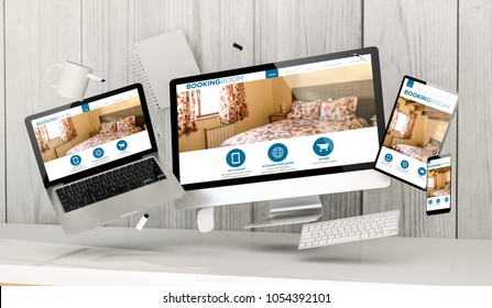 3d rendering of office stuff floating showing hosting website home