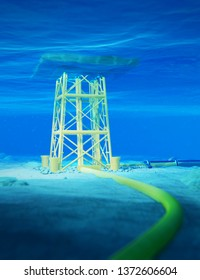 3D Rendering of an Offshore Jacket Platform in Shallow Water