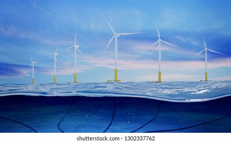 3d rendering of an offshore wind farm with view of submarine cables
