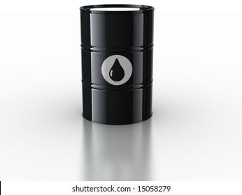 3d rendering of oil drum on reflective white floor