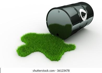 3d rendering of an oil drum spilling green grass