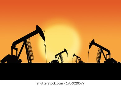 3D Rendering of oil pump jacks silhouette against a sunset sky with copy space. Oil and gas energy exploration. Illustration