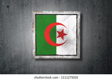 3d rendering of an old Algeria flag in a concrete wall