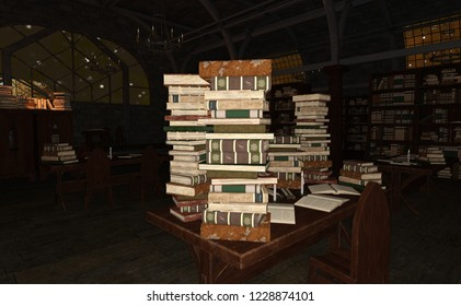 3D rendering of an old fantastic library