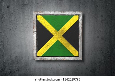 3d rendering of an old Jamaica flag in a concrete wall