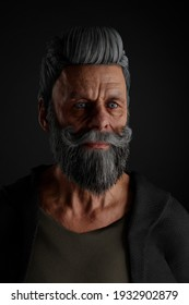 A 3D rendering of a old man with grey beard