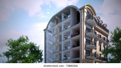 3D rendering of an old Parisian building sectioned showing rooms and interiors