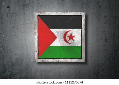 3d rendering of an old Sahrawi Arab Democratic Republic flag in a concrete wall