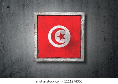3d rendering of an old Tunisia flag in a concrete wall