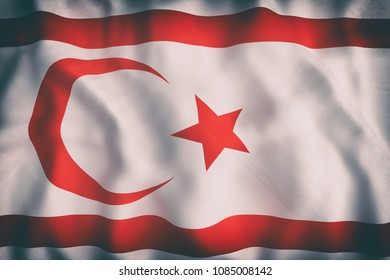 3d rendering of an old Turkish Republic of Northern Cyprus flag waving