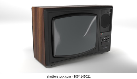 3D rendering - old tv isolated on white background.
