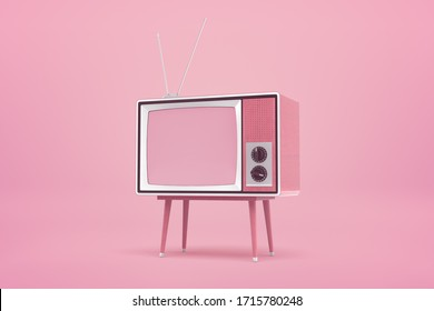 3d rendering of old tv set on pink background. Digital art. Old fashioned device. Science and technology.