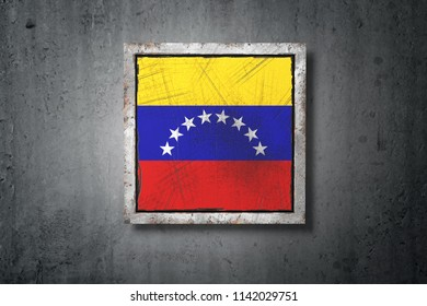 3d rendering of an old Venezuela flag in a concrete wall