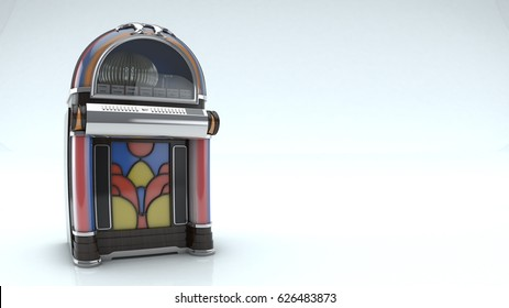 3d rendering of old vintage jukebox isolated on white background floor,