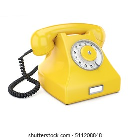 3D rendering old yellow phone on a white background