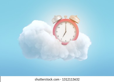 3d rendering of an old-fashioned alarm clock on a fluffy white cloud on a blue background. Get good lie-in. Wake up, World. Rise and shine.