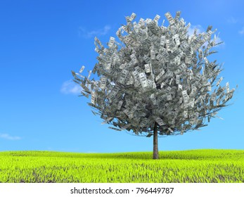 3D rendering of one hundred dollar tree growing on green grass meadow