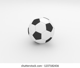 3D rendering of a one realistic football ball on white background