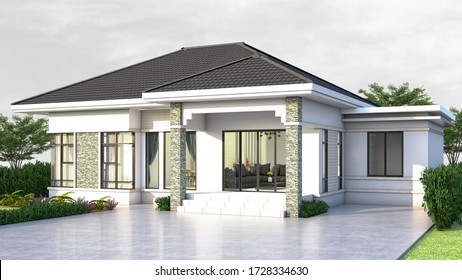 3D rendering of one story house Thai style