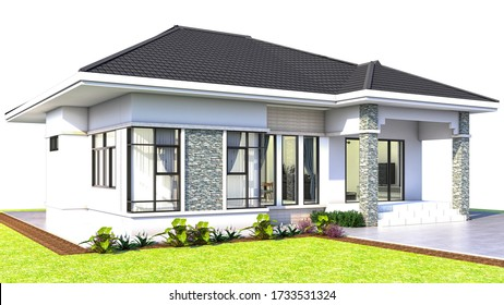 3D rendering of one story house side view Thai style