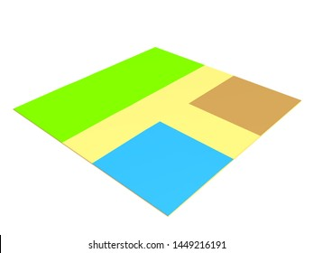 3D Rendering of online map square. 3D Rendering isolated on white.