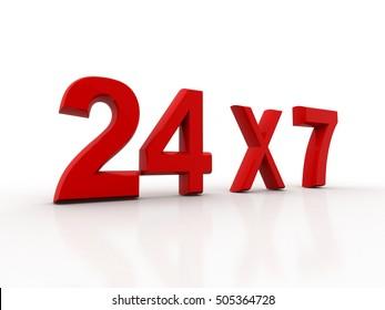 3d rendering Open 24x7... 24 hours seven days a week sign. Open 24 hrs