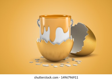 3d rendering of open can full of golden paint that just hatched out from golden egg. Art and creativity. DIY design. House renovation.