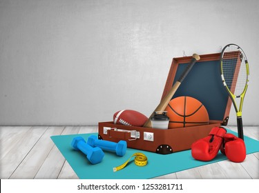 3d rendering of an open case with sports equipment, placed on a gym mat lying on wooden floor. Sport and fitness. Staying fit and healthy. Active lifestyle.
