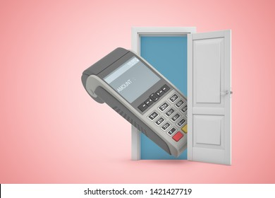 3d rendering of open door on pink gradient background and huge point-of-sale terminal in doorway. Business and finance. Business transactions. Retail commerce.