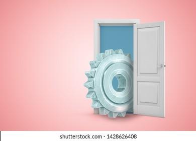 3d rendering of open door on pink gradient copyspace background and big gearwheel in doorway. Technical support. Industry and manufacture. 3d graphic design.