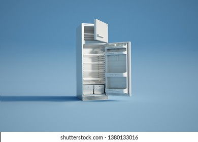 3D rendering of an open empty fridge