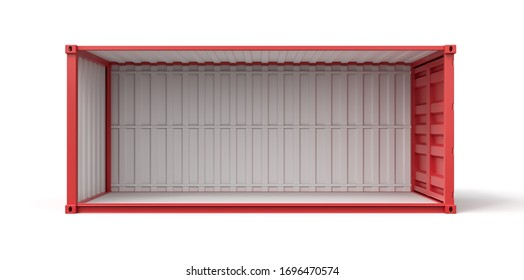 3d rendering of open empty red shipping container side view isolated on white background. Digital art. Objects and materials. Transportation and delivery.